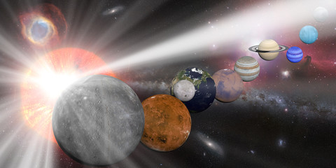 Solar system with sun white rays