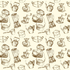 kitchen utensils, kitchenware seamless wallpaper