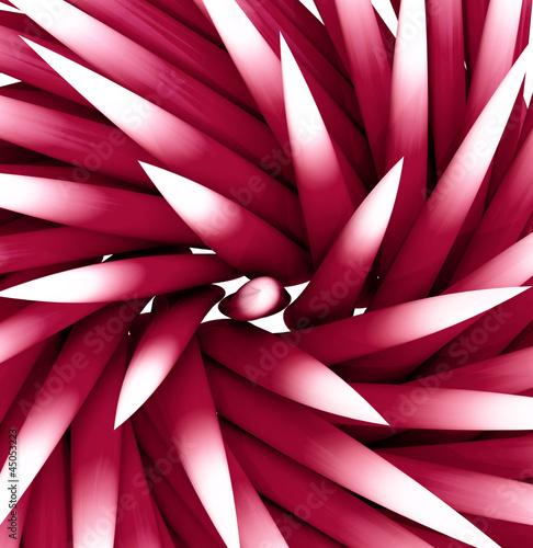 Plakat zbliżenie na kolec Bączek czerwony różowy wzór, kształt płytek zacienionej