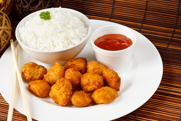 Sweet and sour battered pork balls