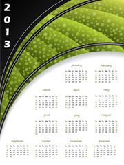 2013 green striped calendar