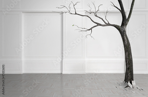 Old tree with falling leaves in a white room.