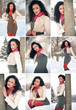Collage of beautiful girl in winter time having fun with snow.