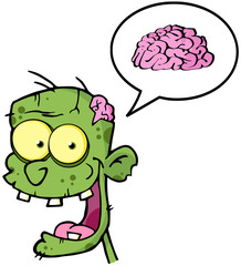 Zombie Head Cartoon Character And Speech Bubble With Brain