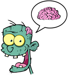 Happy Zombie Head And Speech Bubble With Brain