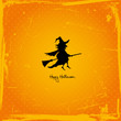 Halloween Card Flying Witch Retro Orange