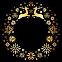 Christmas Wreath Flying Reindeer Gold/Black
