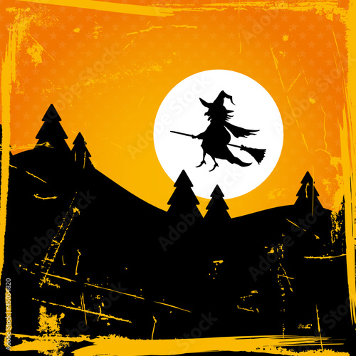 Halloween Card Flying Witch & Full Moon Retro Orange