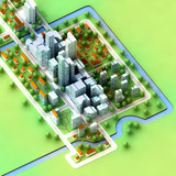 landscape view on new sustainable city concept development poster