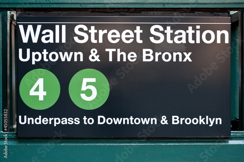 Leinwandbild Motiv Wall street subway station in New York City.