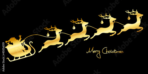 Christmas Sleigh Santa & 4 Flying Reindeers Gold/Black