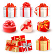 Set of color vector gift boxes with bows and ribbons