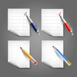 Pen and pencil icon set