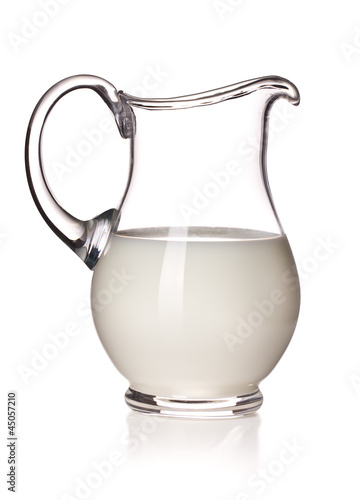 milk in a glass pitcher