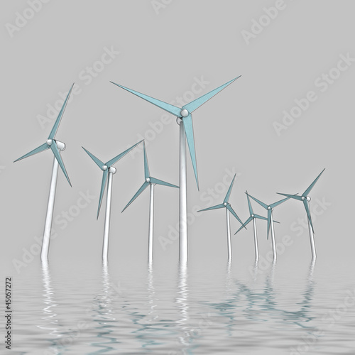 wind energy powerful concept in ocean mist