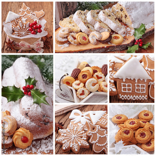 Christmas gingerbread cookies and stollen cake