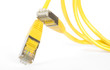 yellow network cable,close up, isolated on white background
