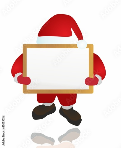 santa and wood board - isolated