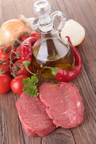 raw meat and ingredients