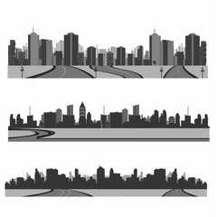 Vector illustration.Highwa y silhouette .City skyline