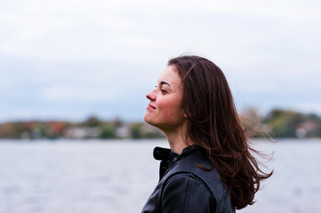 beautiful woman in a jacket