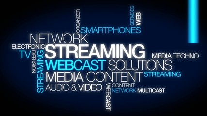 Streaming webcast solutions word tag cloud video