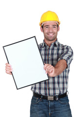 Builder displaying blank advert