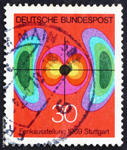 Postage stamp Germany 1969 Diagram of Electromagnetic Field
