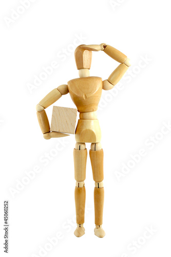 Wooden manikin with package