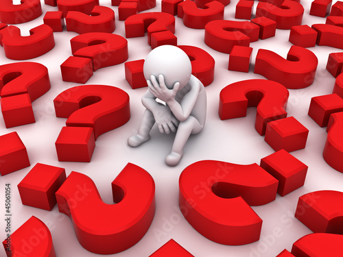 Depressed 3d man sitting with red question marks on white