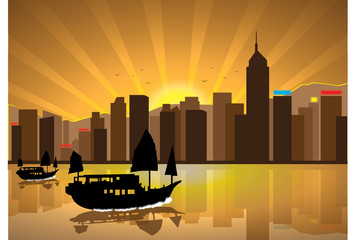 Silhouette illustration of boats cityscape during sunset