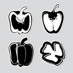 Set of vector decorative peppers