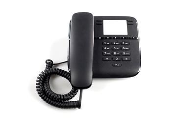 Telefono nero da ufficio