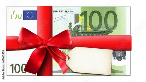 100 Euro mit roter Schleife und Etikett