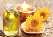 Essential oils for aromatherapy and yellow flowers