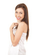 smiling teenage girl in white towel, white background