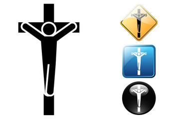 Crucifix pictogram and icons
