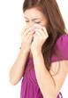 crying sad teenage girl with handkerchief