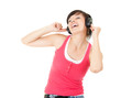 enjoy music young woman with headphones