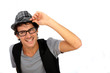 Funky guy wearing hat on white background