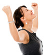Excited business woman celebrting