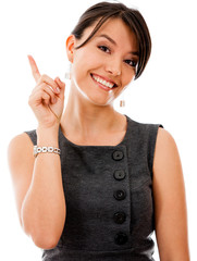 Businesswoman pointing an idea