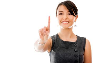 Business woman touching a screen