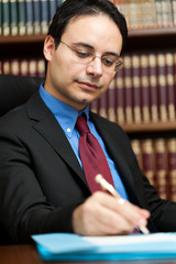 Lawyer working in his studio