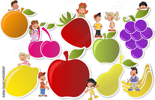 Colorful template for brochure with fruits and cartoon children