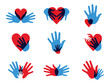 Multicolor diversity hands icons