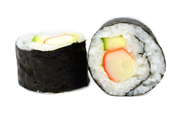 Maki sushi with crab stick and cucumber