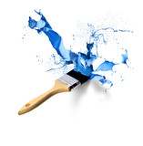 Paintbrush splashing dripping blue