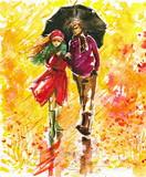 Fototapety Autumn walk-watercolors