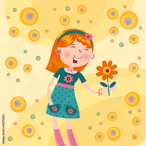 cheerful girl with a flower